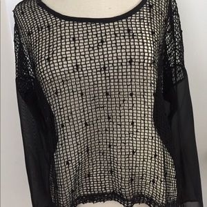 Tops - Chiffon with mesh front top with sequin trim
